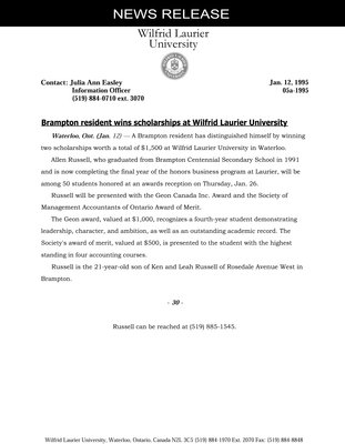 05a-1995 : Brampton resident wins scholarships at Wilfrid Laurier University