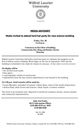 82-1994 : Media Advisory : media invited to attend hard hat party for new science building