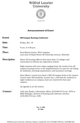 87-1994 : Announcement of event : Off-campus Housing Conference