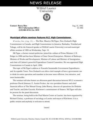 55-1995 : Municipal affairs seminar features N.Z. High Commissioner