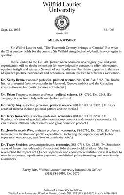 57-1995 : Media Advisory
