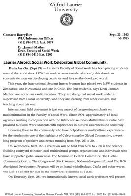 59-1995 : Laurier Abroad: Social Work Celebrates Global Community
