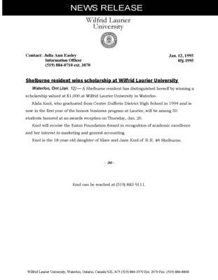 05j-1995 : Shelburne resident wins scholarships at Wilfrid Laurier University