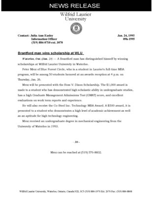 09h-1995 : Brantford man wins scholarship at WLU