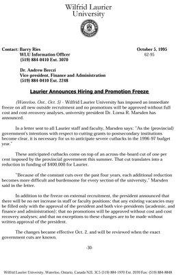 62-1995 : Laurier announces hiring and promotion freeze