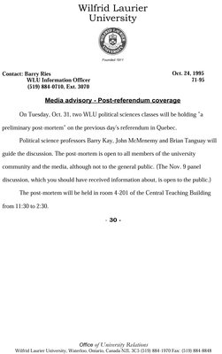 71-1995 : Media Advisory - Post-referendum coverage