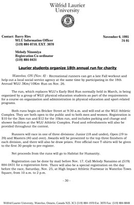 74-1995 : Laurier students organize 18th annual run for charity