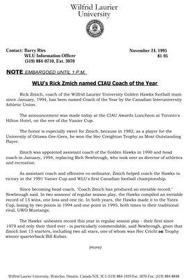 81-1995 : WLU's Rick Zmich named CIAU Coach of the Year