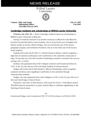 17aa-1995 : Cambridge residents win scholarships at Wilfrid Laurier University