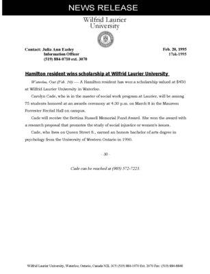 17ak-1995 : Hamilton resident wins scholarship at Wilfrid Laurier University