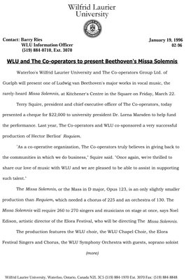 02-1996 : WLU and The Co-operators to present Beethoven's Missa Solemnis
