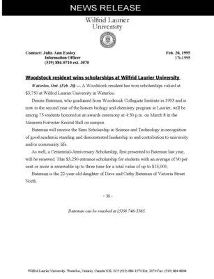 17t-1995 : Woodstock resident wins scholarships at Wilfrid Laurier University