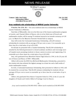 17u-1995 : Area residents win scholarships at Wilfrid Laurier University
