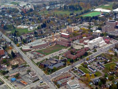 Aerial view of Wilfrid Laurier University campus, 2002