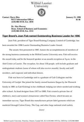 05-1996 : Tiger Brand's Joan Fisk named Outstanding Business Leader for 1996