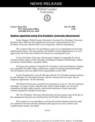 13-1996 : Stephen appointed acting Vice-President: University Advancement