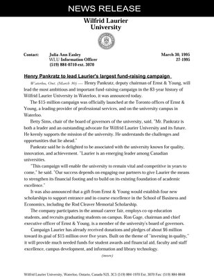 27-1995 : Henry Pankratz to lead Laurier's largest fund-raising campaign