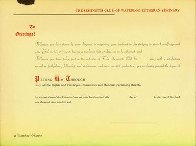 Seminette Club of Waterloo Lutheran Seminary certificate