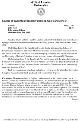 36-1997: Laurier to award four honorary degrees June 6 and June 7