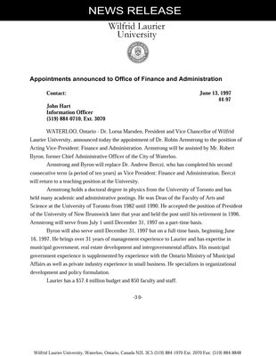 44-1997 : Appointments announced to Office of Finance and Administration