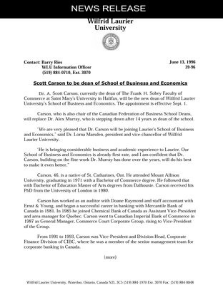 39-1996 : Scott Carson to be dean of School of Business and Economics