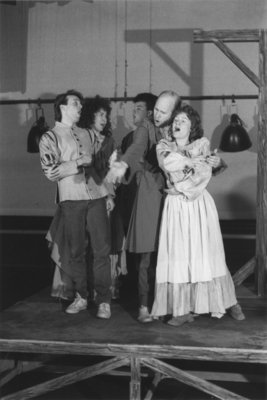 """Rehearsal for the Wilfrid Laurier University production of """"A Chorus of Disapproval"""""""