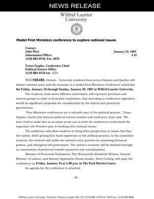 4-1997 : Model First Ministers conference to explore national issues