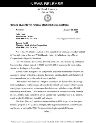 6-1997 : Ontario students win national stock market competition