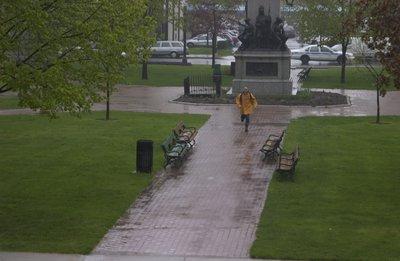 Man running in Victoria Square, Brantford