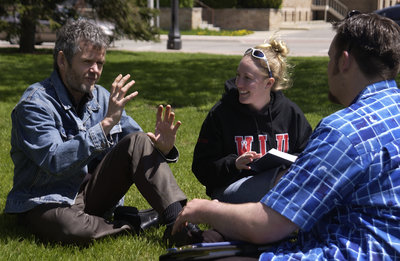 Leo Groarke and students in Victoria Park, Brantford, Ontario
