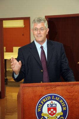 Max Blouw speaking at Laurier Brantford