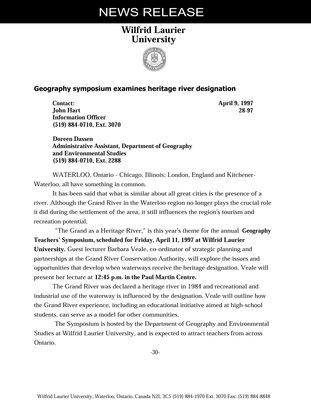 28-1997 : Geography symposium examines heritage river designation