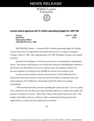 33-1997 : Laurier board approves $57.4 million operating budget for 1997-98