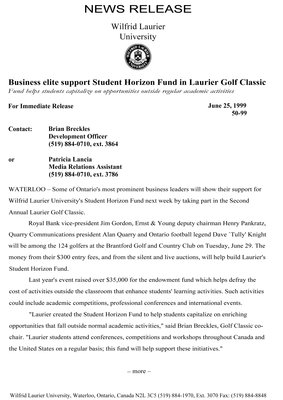 50-1999 : Business elite support Student Horizon Fund in Laurier Golf Classic