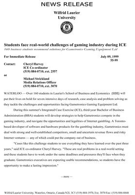 55-1999 : Students face real-world challenges of gaming industry during ICE