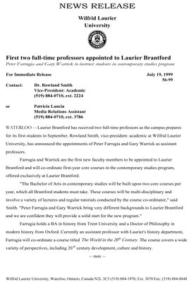 56-1999 : First two full-time professors appointed to Laurier Brantford