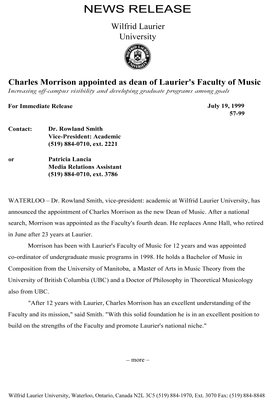 57-1999 : Charles Morrison appointed as dean of Laurier's Faculty of Music