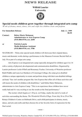 58-1999 : Special needs children grow together through integrated arts camp