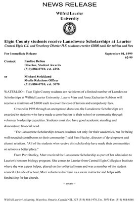 62-1999 : Elgin County students receive Lansdowne Scholarships at Laurier