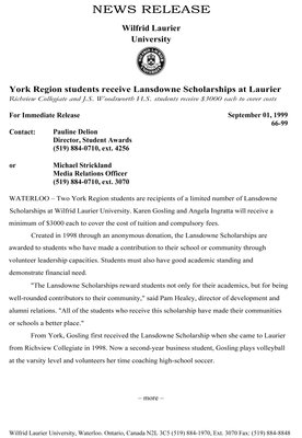 66-1999 : York Region students receive Lansdowne Scholarship at Laurier