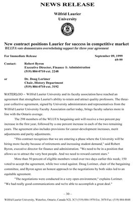 69-1999 : New contract positions Laurier for success in competitive market