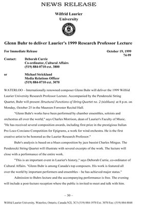 74-1999 : Glenn Buhr to deliver Laurier's 1999 Research Professor Lecture