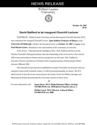 58-1997 : Dave Stafford to be inaugural Churchill Lecturer