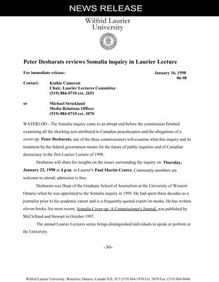 06-1998 : Peter Desbarats reviews Somalia inquiry in Laurier Lecture