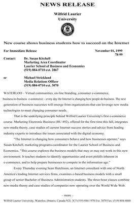 78-1999 : New course shows business students how to succeed on the Internet