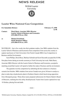 12-1998 : Laurier wins national case competition