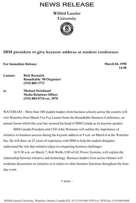 14-1998 : IBM president to give keynote address at student conference