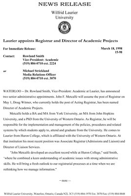 15-1998 : Laurier appoints Registrar and Director of Academic Projects