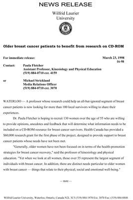 16-1998 : Older breast cancer patients to benefit from research on CD-ROM