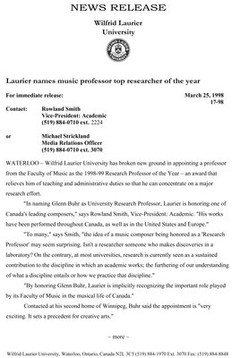 17-1998 : Laurier names music professor top researcher of the year